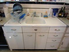 Vintage Metal Kitchen Cabinets Vintage Retro Metal Kitchen Cabinet Cast Iron Sink Ebay Tinny