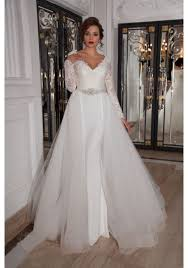 wedding dress with detachable v neck court tulle sheath column wedding dress acd0028