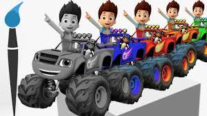 learn colors blaze monster machines toys 2d trucks