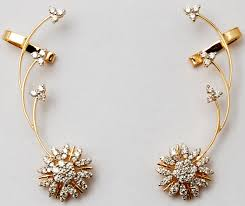 earrings gold design buy trendy cuff earrings with bottom diamond cluster yellow gold