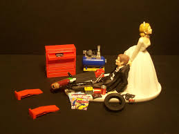 sale new auto mechanic and groom wedding cake topper