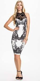 classical black and white lace knee length dress n10108