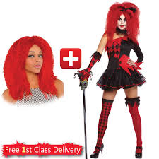 womens halloween fancy dress tricksterina jesterina harlequin ebay