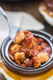 crockpot chili with peanut butter sandwich croutons strawberry