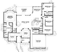 4 Bedroom 2 Bath House Plans Floor Plans Aflfpw04595 1 Story New American Home With 4