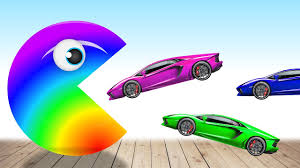 lamborghini children s car learn colors with pacman and lamborghini cars colors to