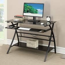 wide black glass top metal frame keyboard tray lower shelf computer writing desk