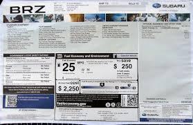 subaru brz price 2014 monroney window stickers subaru brz xv crosstrek outback