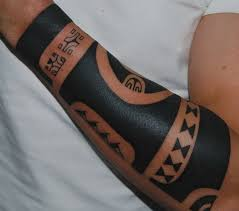 Tribal Tattoos Forearm - harsh tribal black colored sleeve for on forearm