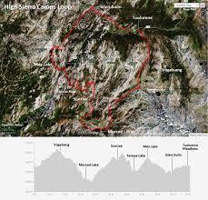 Sierra High Route Map by High Sierra Camps Loop Leor Pantilat U0027s Adventures