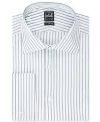 ike behar winter white bold stripe french cuff dress shirt dress