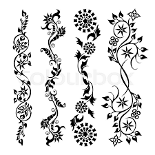 set swirling decorative flower ornament motif pattern stock
