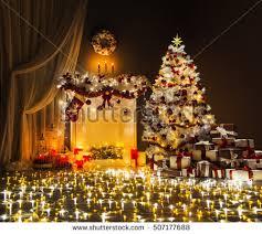 room christmas tree fireplace lights xmas stock photo 331912358