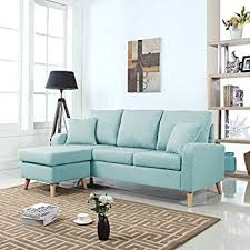 amazon com modern linen fabric small space sectional sofa with