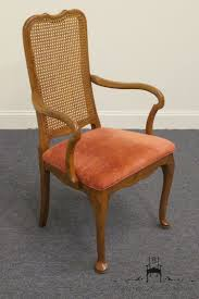 davis cabinet antique walnut solid wood cane back dining arm chair