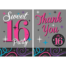 Pink And Black Sweet 16 Decorations Birthday Invitation 16 Amazon Com