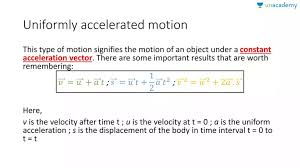 uniformly accelerated motion in motion in one