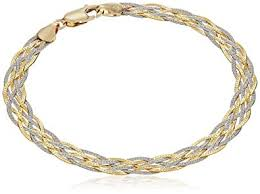 gold tone chain link bracelet images 14k gold two tone yellow and white textured braided jpg