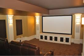 home theater speakers in wall or ceiling in this theater speakers are concealed in columns on each side of