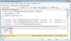 Sql Declare Temp Table Temporary Tables Vs Table Variable In Sql Server 2008