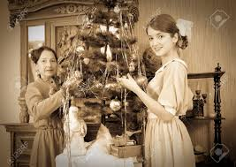 Mother Daughter Christmas Ornaments Vintage Photo Of Daughter With Mother Decorating Christmas Tree