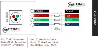 wiring 3 color rgb smd common cathode led 14core com