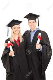 white graduation gowns and woman in graduation gowns holding diplomas isolated on