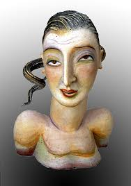 "Patti Warashina Rome Series ""Portrait #5"" 2000 clay, glaze and underglaze - 02062l"