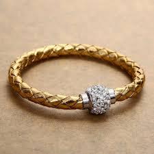 braided leather cuff bracelet images Rhinestone pu leather cuff bracelet magnetic buckle wrap wristband jpg
