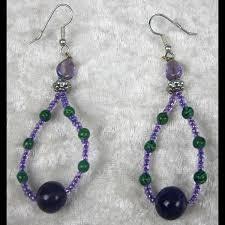 hoop beaded earrings wholesale green and purple beaded hoop earrings