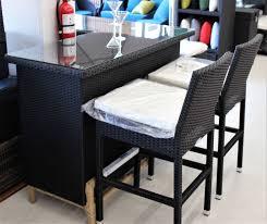 Wicker Table L 5 Pc Black Rattan L Shape Bar Set