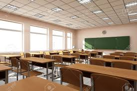 3d interior modern classroom 3d interior in light tones 3d rendering stock