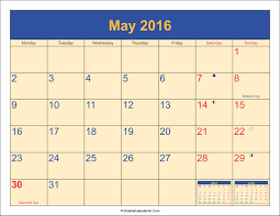 may 2016 calendar with holidays 1 printable calendar 2017 2018 2019