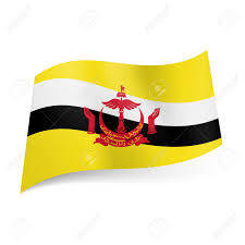 Flag Black Red Yellow National Flag Of Brunei White And Black Stripes With Red Emblem