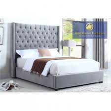 385 upholstered fabric bed in light grey multiple sizes by best