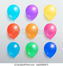 Colorful shiny balloons on transparent background Colorful shiny