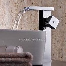 Quality Faucets Brass Waterfall Square Shaped Bathroom Led Faucets