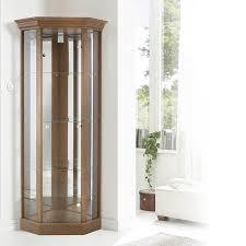 Modern Corner Curio Cabinet Decoration Small Glass Display Units White Glass Cabinet Grey