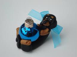dachshund dog christmas ornament polymer clay handcrafted figurine