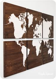 world map large painting on walnut wood panels customizable
