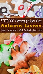 first thanksgiving for kids autumn leaves steam absorption art for kids to enjoy this fall