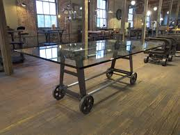 vintage industrial cast iron steel glass dining conference table