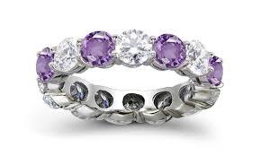 Purple Wedding Rings by Prong Set Purple Sapphire U0026 Diamond Eternity Wedding Rings
