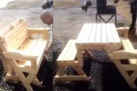 Folding Bench Picnic Table Folding Bench And Picnic Table Combo Is Genius