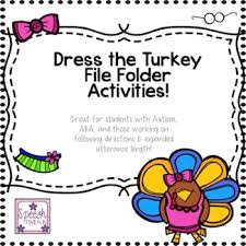 dress the turkey file folder activities great for students with