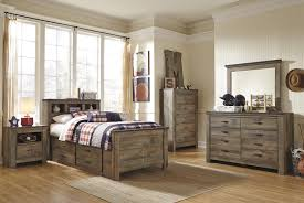 Twin Bedroom Set With Storage Rustic Look Twin Bookcase Bed With Under Bed Storage By Signature