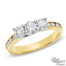 gold 1 carat engagement rings 1 ct t w past present future engagement ring in 10k