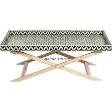 Criss Cross Coffee Table Bone Inlay Criss Cross Coffee Table Bohemain Artefacts Bone
