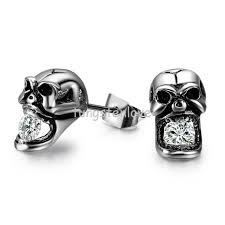 mens stud earrings fashion creative skull shaped with titanium steel mens stud