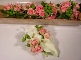 calla corsage white calla pink spray corsage and boutonnieres